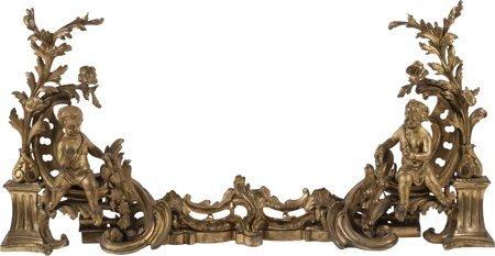 61108: A Three-Piece Louis XVI-Style Gilt Bronze Figura