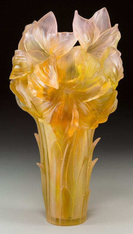 61351: A Large Daum Pink and Yellow Pate-de-Verre Glass