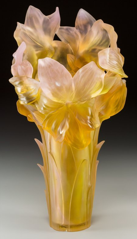 61351: A Large Daum Pink and Yellow Pate-de-Verre Glass - 2