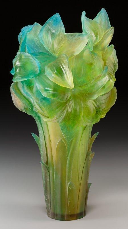 61352: A Large Daum Green and Blue Pate-de-Verre Glass