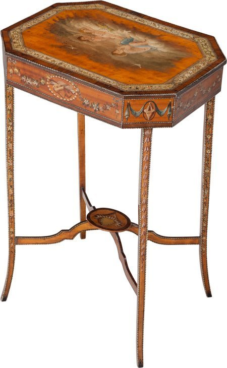 61026: A Sheraton-Style Painted Satinwood and Mahogany- - 2