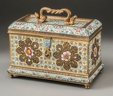 61126: A French Gilt Bronze and Champlevé Table Casket,