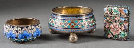 61295: A Group of Three Russian Enameled Silver Smalls,