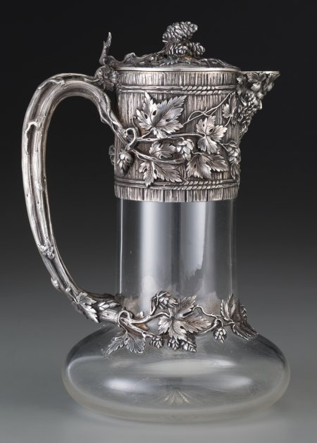 61302: A French Silver Mounted Glass Claret with Trompe