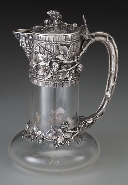 61302: A French Silver Mounted Glass Claret with Trompe - 2