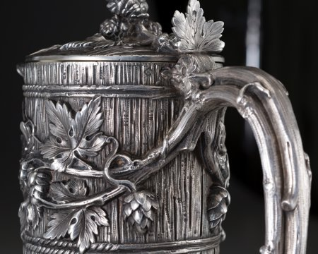 61302: A French Silver Mounted Glass Claret with Trompe - 3