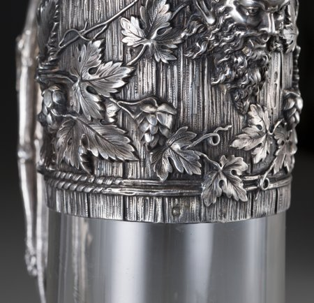 61302: A French Silver Mounted Glass Claret with Trompe - 4