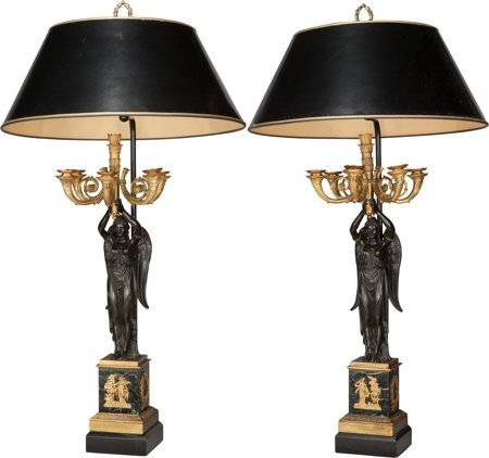 61233: A Pair of Empire-Style Gilt and Patinated Bronze