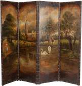 61070 A French Polychrome Painted Leather Pastoral Fou
