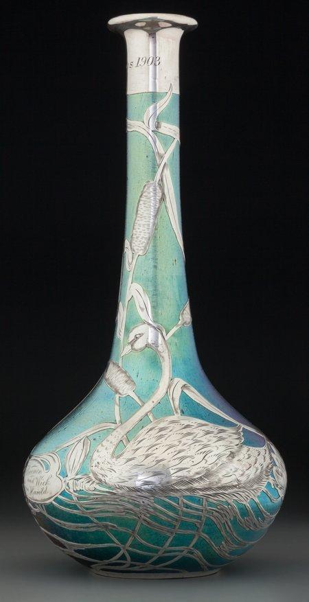 61318: A Loetz Iridescent Glass Vase with La Pierre Sil