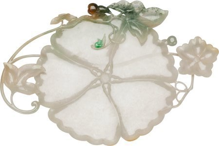 61402: A Chinese Carved Jadeite Gourd Blossom Plaque wi - 3