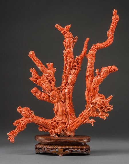 61457: A Chinese Carved Coral Figural Group with Stand: