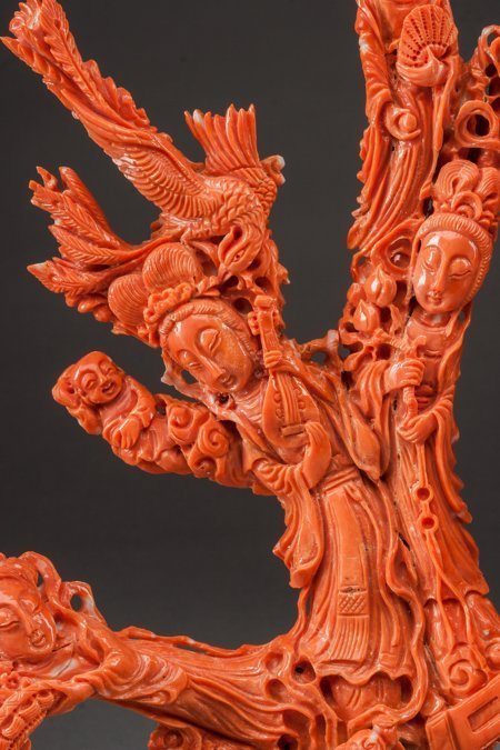61457: A Chinese Carved Coral Figural Group with Stand: - 2