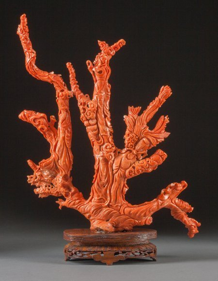 61457: A Chinese Carved Coral Figural Group with Stand: - 3