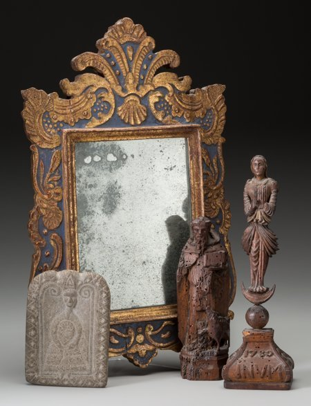 61871: A Baroque Mirror, Medieval Stone Stele, and Carv