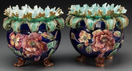 61785: A Pair of French Majolica Jardinières, late 19th