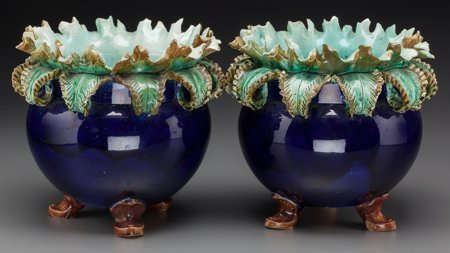 61785: A Pair of French Majolica Jardinières, late 19th - 2