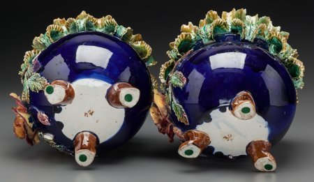 61785: A Pair of French Majolica Jardinières, late 19th - 3