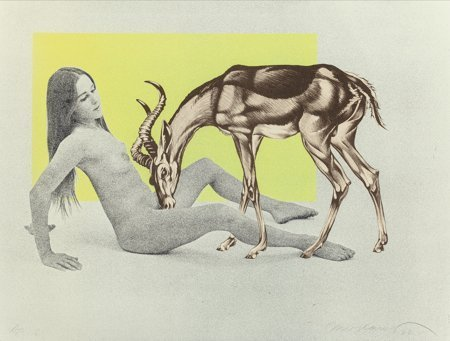 62099: Mel Ramos (American, b. 1935) Girl with Antelope