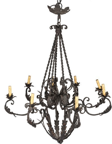 61729: A Wrought Iron Eight-Light Chandelier, early 20t