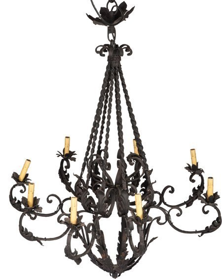 61729: A Wrought Iron Eight-Light Chandelier, early 20t - 2