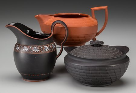 61751: Three Early Wedgwood Wares: Caneware Creamer and