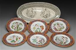 A Wedgwood Oceanic Transferware Platter with Six