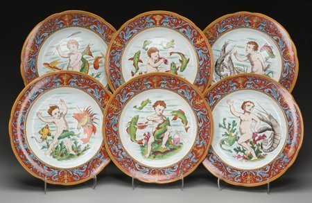 61756: A Wedgwood Oceanic Transferware Platter with Six - 2