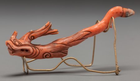 61937: A Chinese Carved Coral Hair Pin with Stand: Drag - 2