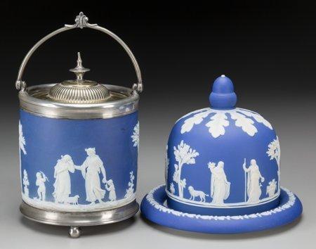 61759: A Wedgwood Blue Jasperware Cheese Keeper and Bis