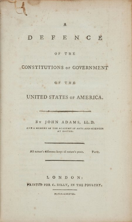 45001: John Adams. A Defence of the Constitutions of Go