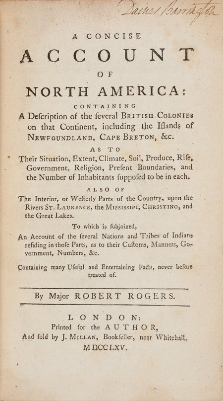45015: Robert Rogers. A Concise Account of North Americ