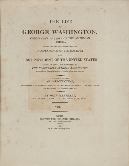 45020: [George Washington]. John Marshall. The Life of