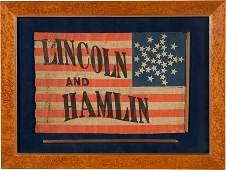 43105: Lincoln & Hamlin: Graphic Name Flag. This quinte