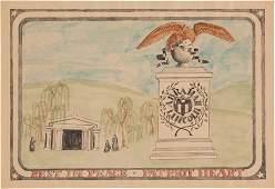 43210: Abraham Lincoln: Folk Art Memorial Watercolor. 1