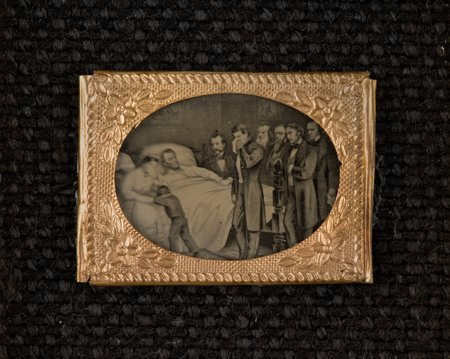 43254: Abraham Lincoln: Deathbed Scene Gem Tintype. Mos