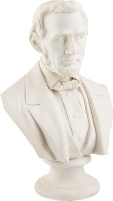 """43294: Abraham Lincoln: Parian Ware Bust. 12"""" parian bu"""