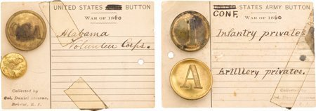 43539: Confederate Uniform Buttons: Four Examples. Grou