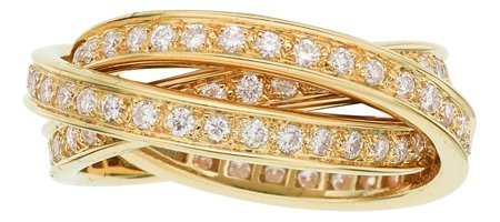 55001: Diamond, Gold Ring, Cartier, French  The Trinity