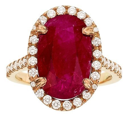 55016: Ruby, Diamond, Gold Ring  The ring features an o