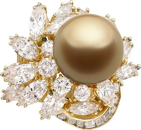 55017: South Sea Cultured Pearl, Diamond, Gold Ring  Th