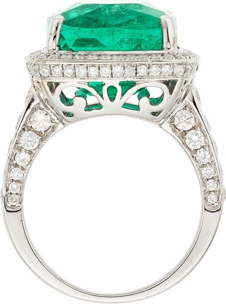 55117: Colombian Emerald, Diamond, White Gold Ring  The - 2