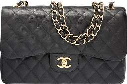 58011: Chanel Black Quilted Caviar Leather Jumbo Double