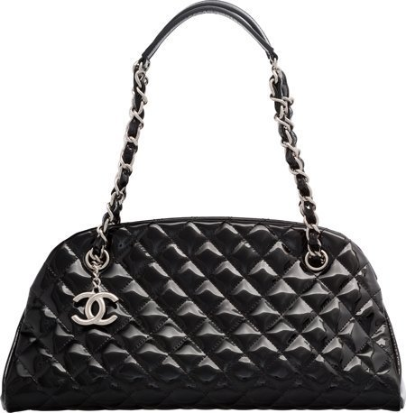 58036: Chanel Black Patent Leather Timeless Bag with Si