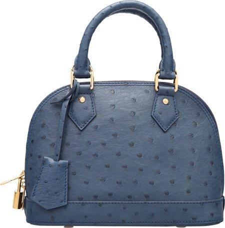 58078: Louis Vuitton Indigo Blue Ostrich Alma BB Bag Ex