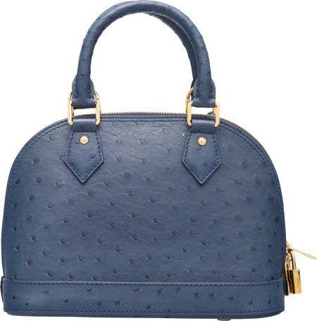 58078: Louis Vuitton Indigo Blue Ostrich Alma BB Bag Ex - 2