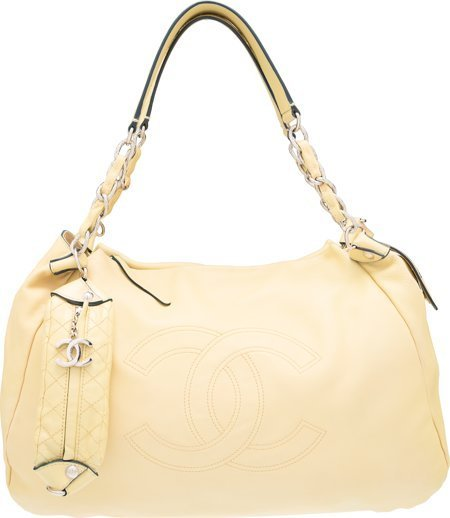 58071: Chanel Yellow Leather Shoulder Bag with Silver H