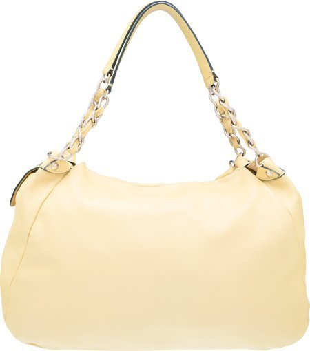 58071: Chanel Yellow Leather Shoulder Bag with Silver H - 2