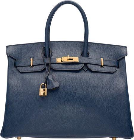 58221: Hermes 35cm Blue Marine Ardennes Leather Birkin