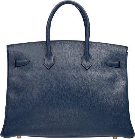 58221: Hermes 35cm Blue Marine Ardennes Leather Birkin  - 2